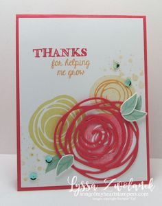 Swirls and scribbles thanks friend card Stampin Up - SU - Helping Me Grow