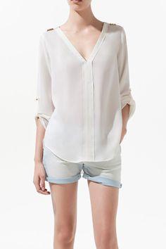 V-neck Studded Long Sleeve Chiffon Shirt OASAP.com