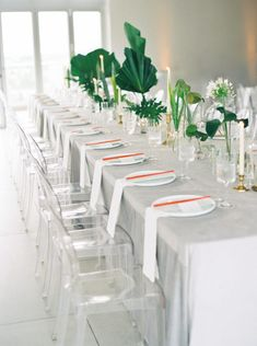 A Modern Gray and Green Miami Wedding at Penthouse Riverside Wharf Wedding Centerpieces, Wedding Decorations, Table Decorations, Tropical Wedding Decor, Tropical Weddings, Tropical Decor, Bird Of Paradise Wedding, Wedding Table Settings, Wedding Tables