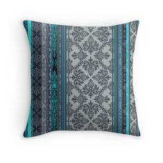 Teal, Aqua & Grey Vintage Bohemian Wallpaper pillow