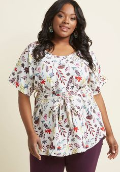 cecaa24b42b Medium Format Memory Tunic in Sprigs in 3X - Short Sleeve Oversized Plus  Size Outfits,