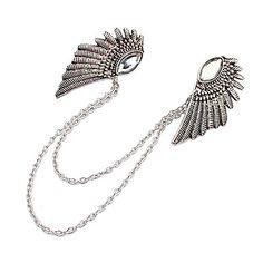 nieuwe gothic punk engelenvleugels kleren kraag clip brons zilveren ketting broche sieraden pins broches voor gift