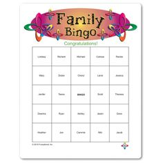 Printable Family Bingo