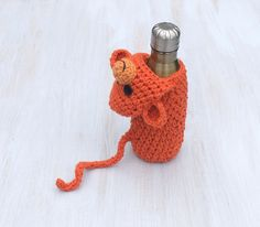 Bottle cozy Baby bottle sleeve For kids Crochet cozy Water bottle cover Animal shaped cozy Orange monkey Funny For animal lovers - pinned by pin4etsy.com