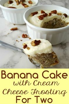 This Banana Cake with Cream Cheese Frosting recipe is amazing! It's moist, dense, and packed with huge banana flavor topped with the perfect cream cheese frosting and chopped pecans or walnuts. Mini Desserts, Single Serve Desserts, Single Serving Recipes, Small Desserts, Easy Desserts, Dessert Recipes, Light Desserts, Dessert Simple, Dessert For Two