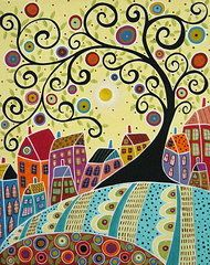 Houses and a Swirl Tree Framed Print by Karla Gerard