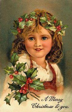 Young Christmas Victorian postcard girl #5