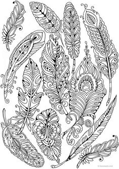 Feathers - Printable Adult Coloring Page from Favoreads (Coloring book pages for adults and kids, Coloring sheets, Coloring designs) Abstract Coloring Pages, Mandala Coloring Pages, Flower Coloring Pages, Colouring Pages, Coloring Pages For Kids, Coloring Sheets, Coloring Books, Kids Coloring, Plotter Silhouette Portrait