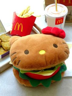 I believe this is the reversible plush that goes from food to a hello kitty doll