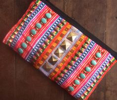 Hippie embroidery clutch // neon color // wallet // camera case // ethnic // tribal // patchwork // exotic // pink // colorful