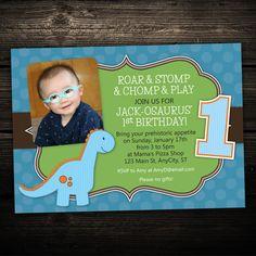 Roaring Dinosaur  -  First Birthday Party Printable Photo Invitation  -- Any Color. $12.99, via Etsy.