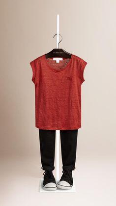 T-shirt en lin léger Rouge Baie   Burberry