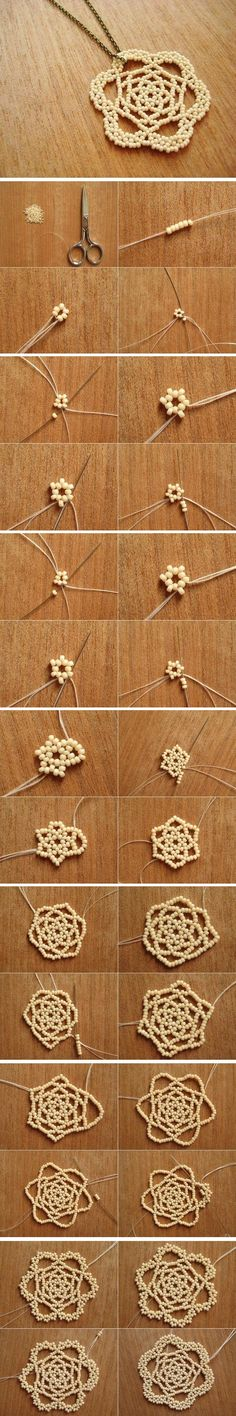 diy beaded flower pendant -- simple and cute, could be used for a pendant necklace or earrings or just to oomph up a piece of clothing