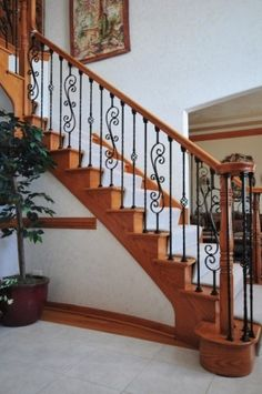Wrought iron baluster upgrade traditional staircase