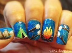 Campfire nails  #Nails #nail art #camping