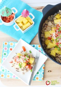 Healthy Hawaiian Haystack Skillet. This one pot meal uses only fresh whole food ingredients. www.superhealthykids.com