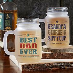 """These are so cool! Great Father's Day Gift idea! They're Personalized Mason Jar Glasses that you can customize with any 4 lines and your choice of 3 color options! LOVE the """"Sippy Cup"""" one! HA!"""