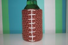 crochet football can cozy. I made these for Christmas gifts last year.