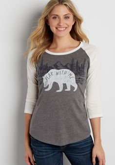 baseball tee with bear with me graphic  #wishpinwinsweepstakes and #discovermaurices