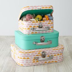 Bon Voyage Suitcase Set (Pink Pattern) $19.95 land of nod- perfect for american girl doll clothes and accessories
