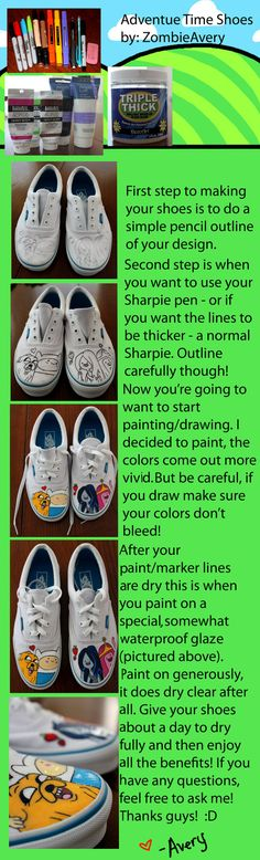 Adventure Time Shoe Tutorial by ~ZombieAvery. Id like to do it with other characters or designs.