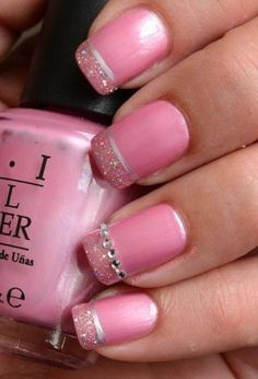 pink nails with rhinestones