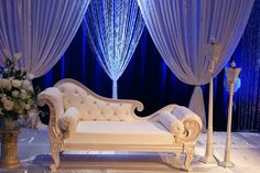 Royal Blue and Ivory Stage Done by Design and Decor