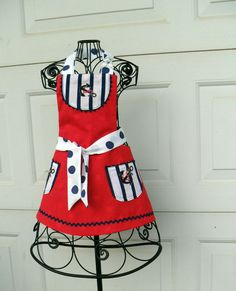 Sweet Sailor Reversible Apron for Little Girl by Aprons2tie4, $25.00