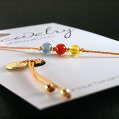 Feines Armband bunte Achate gold rot blau gelb von animoARTshop