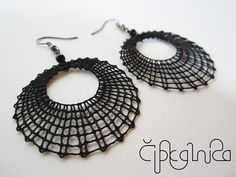 Black Round Lace Earrings - handmade bobbin lace jewelry