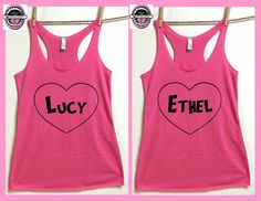 Lucy and Ethel Tank tops. Set of 2. Ladies cut by pinkboxstudio