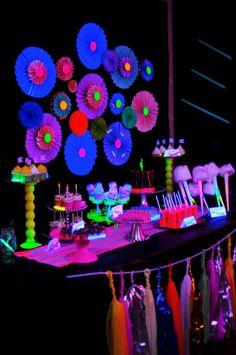Glow in the Dark Theme Ideas - Dessert Table via Kara's Party Ideas - mazelmoments.com