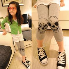 Children's clothing child unisex 2013 all match skull elastic legging pants-inPants from Apparel & Accessories on Aliexpress.com