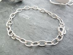 Sterling Silver Cable Link Charm Bracelet by TripleMoonStar, £25.00
