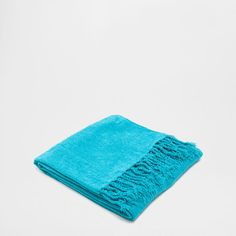 TURQUOISE CHENILLE BLANKET - Blankets - Bedroom   Zara Home United Kingdom