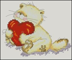 "Free cross-stitch pattern ""Cute loving cat"".Fabric: Aida 14, Rue 74w X 60h Stitches Size(s): 14 Count, 13.43w X 10.89h cm. Free download:"