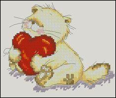 "Free cross-stitch pattern ""Cute loving cat"".Fabric: Aida 14, Rue 74w X 60h Stitches Size(s): 14 Count, 13.43w X 10.89h cm. Free download:"