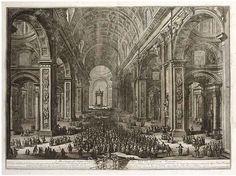 Giuseppe Vasi (italian 1710-1782), engraving of the St. Peter Basilica in Rome.