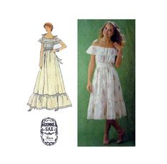Off Shoulder Ruffled Gunne Sax Dress Sewing Pattern By Jessica McClintock…