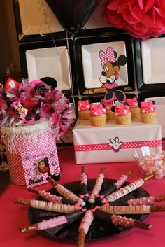 Yummy treats at a Minnie Mouse party! See more party planning ideas at CatchMyParty.com!