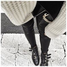 WEBSTA @ audreylombard - Bas d'hier :• Leather legging #samsoe (old but still on @cyrielleforkure)• Boots #givenchy (on @farfetch)...