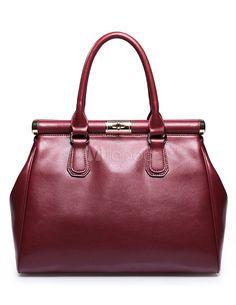 Chic Burgundy Cowhide Woman's Tote Bag - Milanoo.com