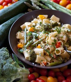 One Pot Vegetable Pasta Primavera. Easier than getting take out. A simple, fast and healthy dinner option that's ready in under 20 minutes. Vegetarian friendly!