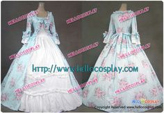 Renaissance Gothic Lolita Ball Gown Floral Print Cotton Dress