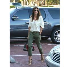 Cindy Crawford cargo pants white blouse