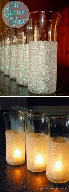 DIY Glitter Vase. Transform dollar store vases into something gorgeous for winter wedding decor!