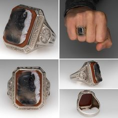 Vintage Agate Cameo Mens Ring 14K.  [Click on picture to see a better view. Some damage to the white part, but awesome engraving and darker cameo.]