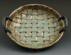 Coyote Desert Sage -- basket weave pottery would be pretty to hang. Hand Built Pottery, Slab Pottery, Pottery Bowls, Ceramic Pottery, Pottery Art, Ceramic Clay, Ceramic Plates, Cerámica Ideas, Slab Ceramics