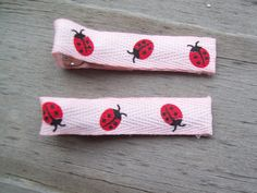 Ladybug Ribbon Hair Clips  Ladybug Hair Clips  Pink by Sapphire107 #craftshout #ladybug #hairaccessories
