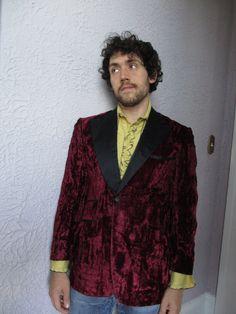 70's Vintage Men's Crushed Velvet Jacket smoking by PaisleyBabylon
